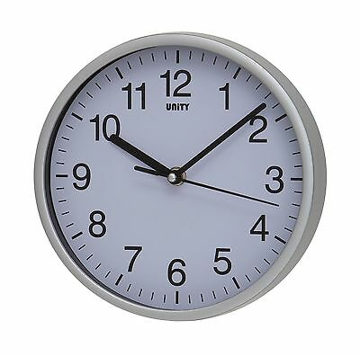 Unity UNSW196 Radcliffe Sweeping Seconds Hand Quiet Wall Clock Silver New