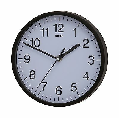 Unity UNSW198 Radcliffe Sweeping Seconds Hand Quiet Wall Clock Black New
