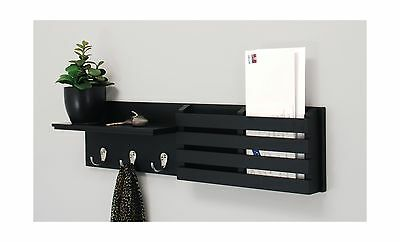 nexxt Sydney Wall Shelf and Mail Holder with 3 Hooks 24-Inch by 6-Inch Bl... New