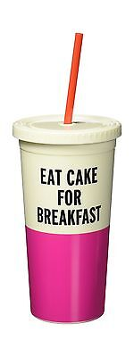 Kate Spade New York Tumbler with Straw Eat Cake For Breakfast  Pink New
