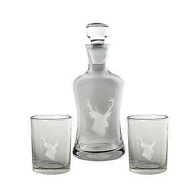 TMD Holdings Etched Stags Head Decanter Set Clear New