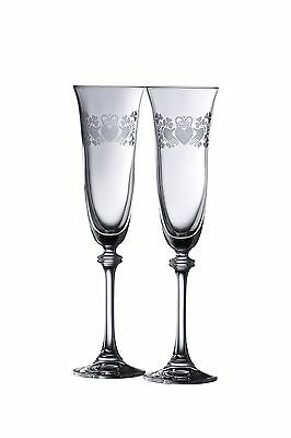 Galway Crystal Claddagh Ring Shamrock Liberty Flutes (1 Pair) Clear New