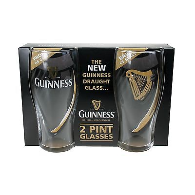 The **NEW** Guinness Draught Glass (2 Pint Glasses) New