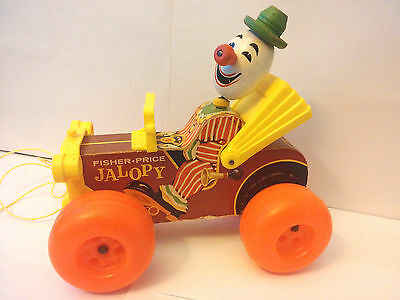 Vintage Fisher Price Jalopy Clown Car Pull Toy