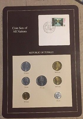 Seven Coin Set Bright Uncirculated 1987-1989 TURKEY Coins Of All Nations