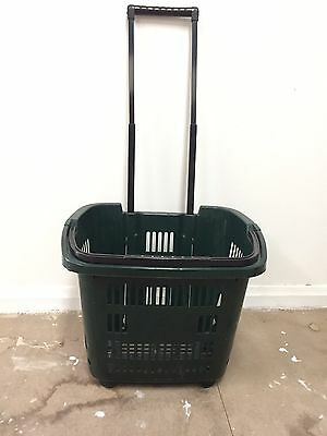 4X Plastic Green Rolling Shopping Baskets with 2 wheels