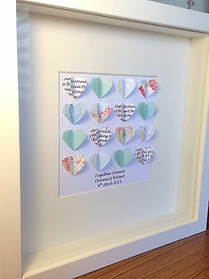 Personalised Box Frame. 3d Hearts Picture. Wedding, Anniversary Gift.