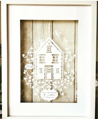 paper cut personalised house warming gift. new home.