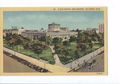 Vintage Postcard Linen State Capitol & Grounds Columbus    Ohio  Old Cars