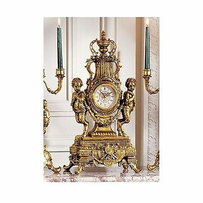 Design Toscano Grande Chateau Beaumont Clock in Antique Faux Gold New