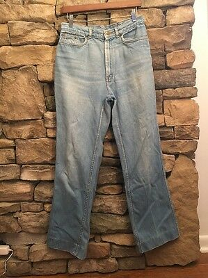 Landlubber 70s True Vintage Boho Bell Bottom Wide High Waisted Mom Jeans 28x29