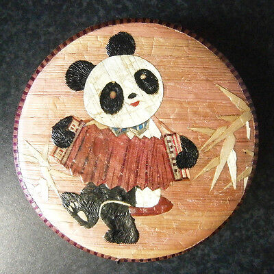 CUTE VINTAGE CHINESE BAMBOO ROUND JEWELLERY BOX with PANDA PLAYING ACCORDION