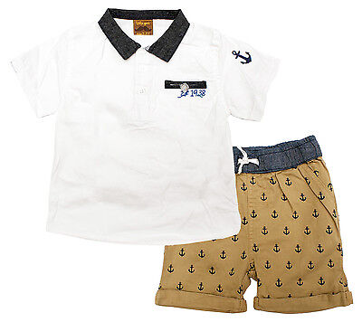 Boys T-Shirt Shorts Outfit Little Gent Anchor Set Toddler 12 Months to 3 Years