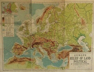 Vintage 1950s Philips Wall Map Linen Backed EUROPE Political Fullard