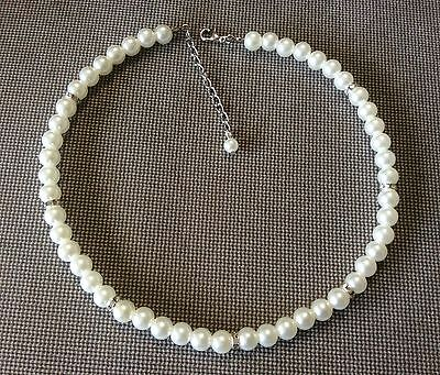 "16"" Dainty 8 mm White Pearl Necklace Wedding Necklace Bridesmaid Necklace"