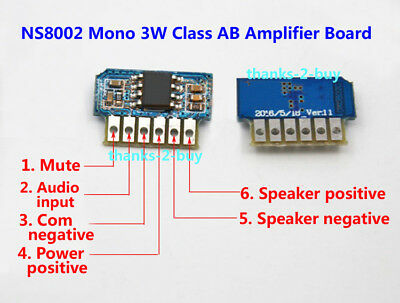 DC 3V 3.7V 5V Class AB Mono 3W Mini Amplifier Board Audio Amp Module One channel