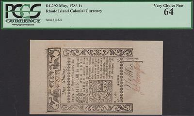 RI-292 *** PCGS Choice New 64 *** 1 Shilling May 1786 Rhode Island Currency
