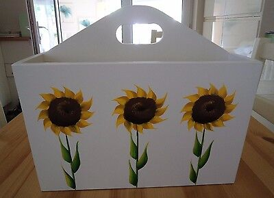 Hand Crafted and Hand Painted Sunflower Magazine Rack