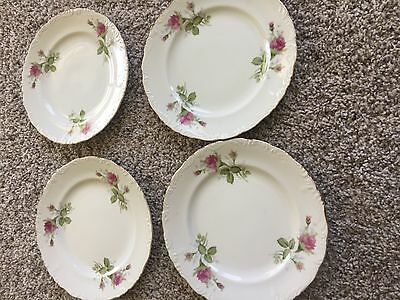 """Four 7 1/2"""" VINTAGE CHINA TEA CUP SET HAND PAINTED WITH ROSE BUDS MADE IN JAPAN"""