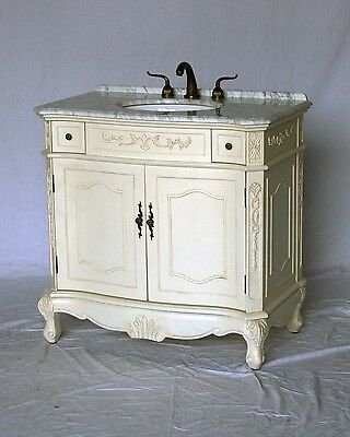 """36"""" Antique White Single Sink Vanity with White Color Italian Carrera Marble Top"""