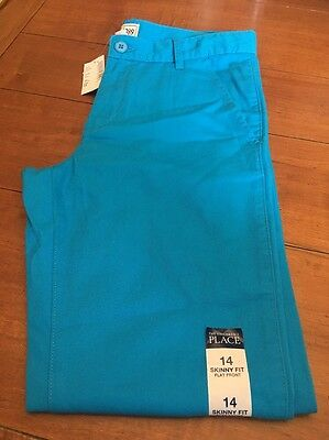 The Childrens Place Skinny Fit Flat Front Khaki Chinos Girls size 14 NWT