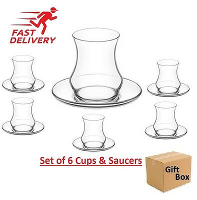 12 pcs Tea Glasses Designer Turkish Tea Cups Saucers Glass Cay Bardagi Cups