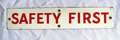 """Vintage SAFETY FIRST Porcelain Sign, White w/ Red Letters Approx 15""""x3"""""""