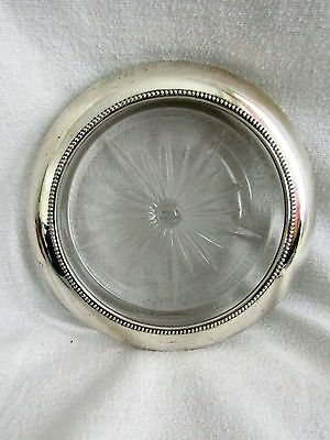 """FRANK WHITING Vtg 7"""" Beaded Sterling Silver Rim Glass Champagne Wine Coaster"""
