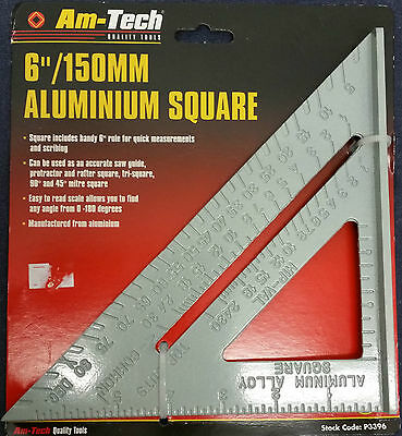 """Aluminium Roofing Speed Square Level Ruler 6"""" 150mm easy to read scale 0 to 180"""