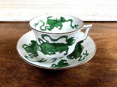 Wedgwood Bone China Green Chinese Tigers Williamsburg Cup & Saucer 5 Available