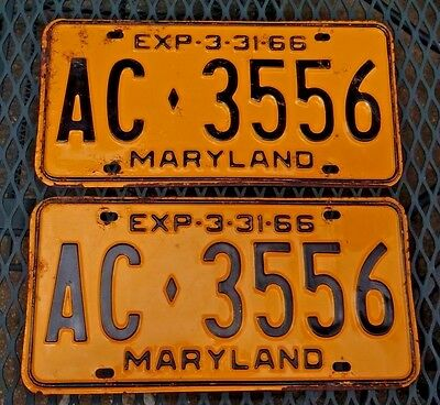 1966 66 Maryland License Plates Matched Pair Original # AC 3556 Tags Antique