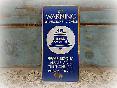 antique original bell system underground cable sign / bell telephone advertising