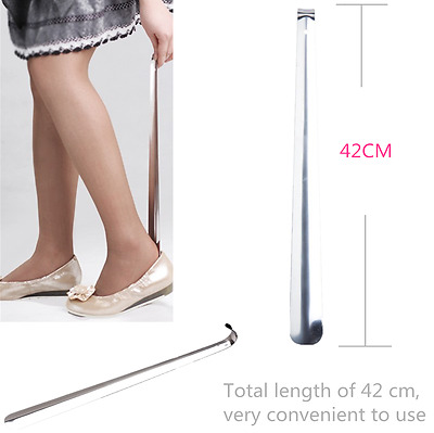 Stainless Steel Shoe Horn 42cm Long Silver Metal Handled Shoes Remover