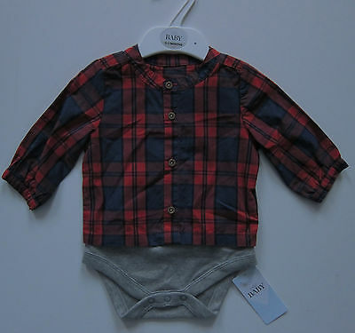 New Baby Boys Marks & Spencer Red & Blue Shirt Age 0-3 Months