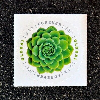 2017USA #5198 Global Forever - Green Succulent  Single Mint (international sase)