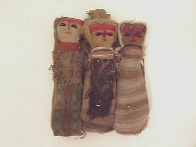Vintage Chancay Peruvian BURIAL DOLLS - Set of 3 Made from Antique Cloth