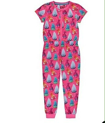 George Girls Official DreamWorks Trolls Short Sleeve Jumpsuit  Pyjamas 2- 14