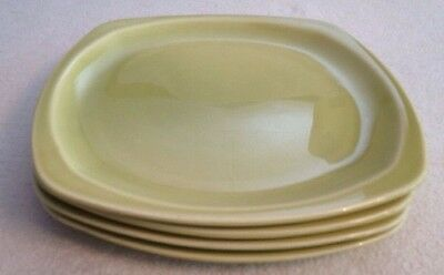Vintage PADEN CITY POTTERY SQUARE DINNER PLATES. Set Of 4. Chartreuse. 9 1/4""