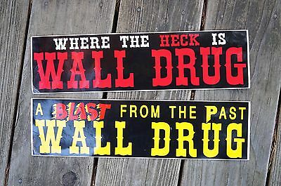"""2 Vintage """"A Blast From The Past"""" & """"Where The Heck Is"""" Wall Drug Bumper Sticker"""