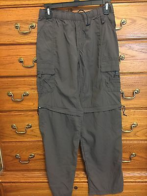 Columbia Pull-On Convertible Hiking Pants Boys Size L Slate Gray Color