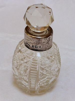 Antique 19c English Cut Glass Sterling Silver Perfume Bottle
