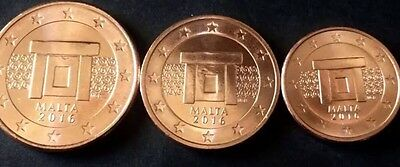 Malta 3 Euro Coins 1, 2, 5 Cents 2016 New Regular Coins BUNC from Rolls