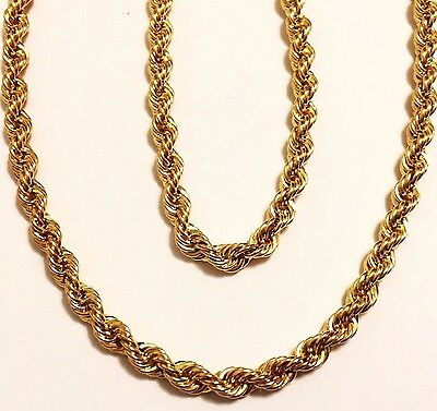 """14k solid yellow gold(4mm)Hollow Rope chain(16""""/18""""/20""""/22'/24"""")"""