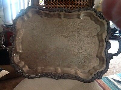 Huge commercial Sheridan Silver over brass Footed Serving Tray Scalloped 28 x18