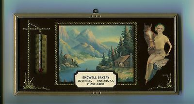 1952 advertising thermometer picture,reverse paint,Endwell Bakery, Binghamton,NY