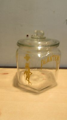 Vintage Mr Peanut Planters Glass 6 sided Jar with Lid Store Counter Advertising
