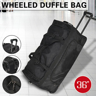 "NEW 36"" Rolling Wheeled Tote Duffle Bag Luggage Travel Duffle Suitcase Black"