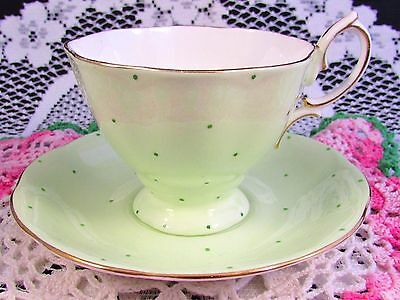 Royal Albert  Pierette Tiny Polka Dot Green Tea Cup And Saucer