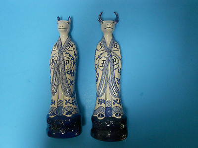 Exquisite Chinese Porcelain Set of COWS IN KIMONOS cow statues - Set of Two