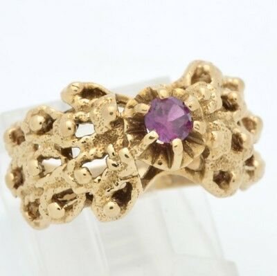 Estate Ruby Ring Solid 14K Yellow Gold Cocktail Filigree Size 4.5 (Gp1006783)
